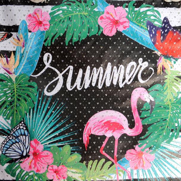 Striped Summer Tropical Rhinetsones Ladies Tote Bag - LTBG1213
