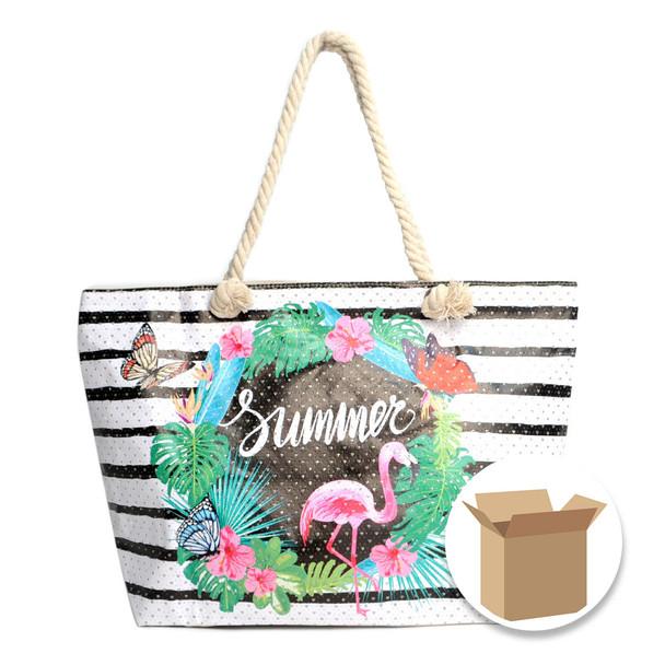 "Case Deal 48pc ""Striped Summer Tropical"" Rhinestones Ladies Tote Bags - LTBG1213-Case"