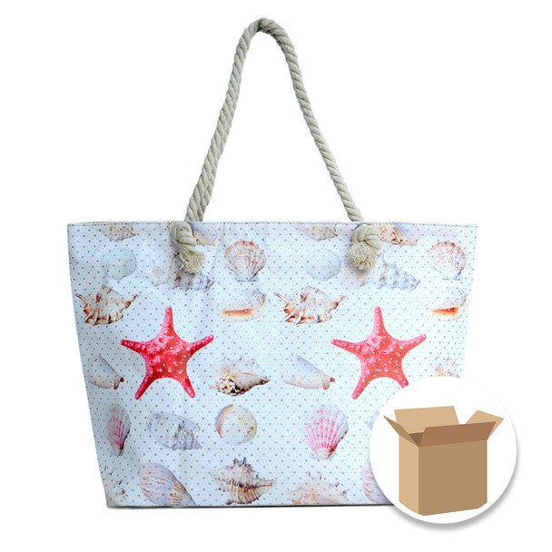 "Case Deal 48pc ""Shells & Starfish"" Rhinestones Ladies Tote Bag - LTBG1212-Case"