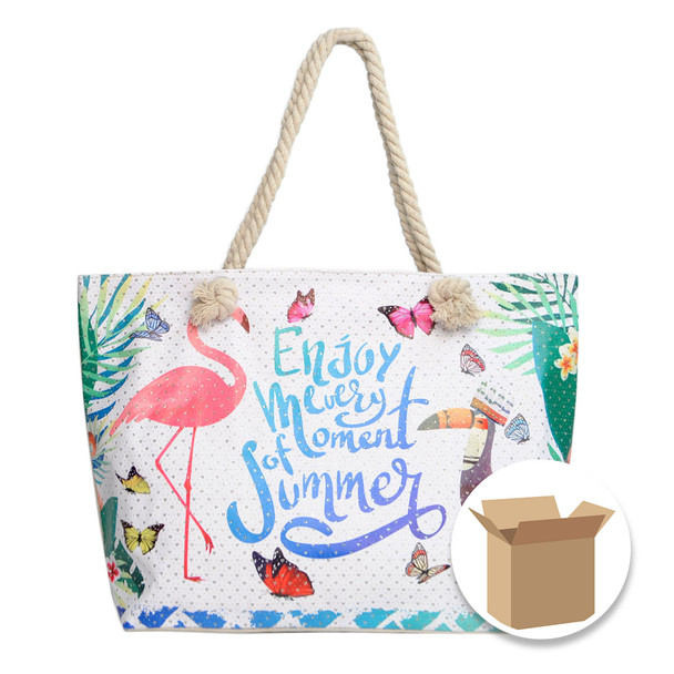 "Case Deal 48pc ""Summer Tropical"" Rhinestones Ladies Tote Bag - LTBG1210-Case"