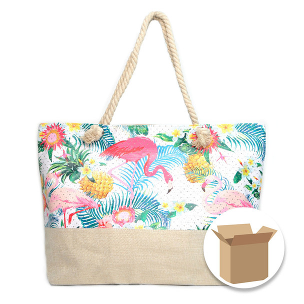 "Case Deal 48pc ""Summer Tropical"" Rhinestone Ladies Tote Bag - LTBG1209-Case"