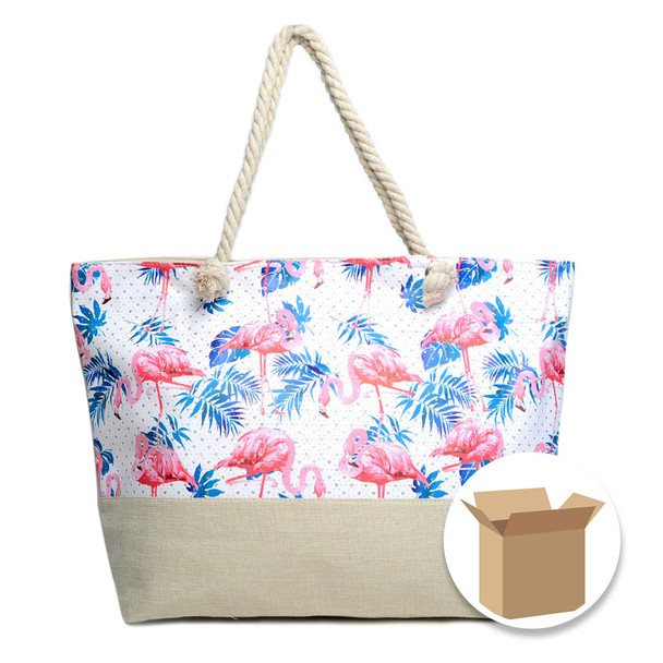 "Case Deal 48pc ""Summer Flamingo & Palm Leaves"" Rhinestone Ladies Tote Bag - LTBG1208-Case"