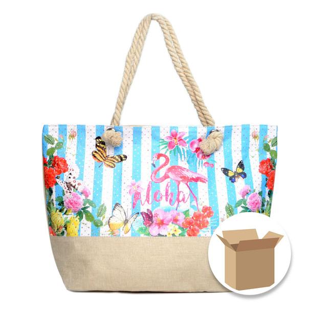 "Case Deal 48pc ""Summer Flower -Aloha-"" Rhinestone Ladies Tote Bag - LTBG1206-Case"