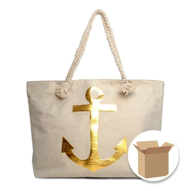 "Case Deal 48pc ""Gold Anchor"" Summer Ladies Tote Bag - LTBG1202-Case"