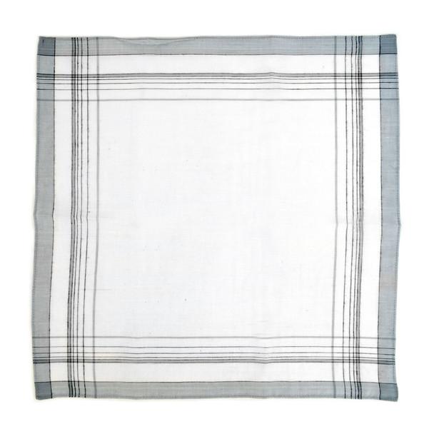 12 Pack Men's White, Blue & Gray Handkerchiefs - PH003-1-12