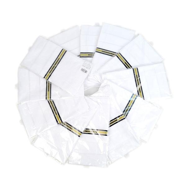 12-Pack Men's White Handkerchiefs - PH003-12