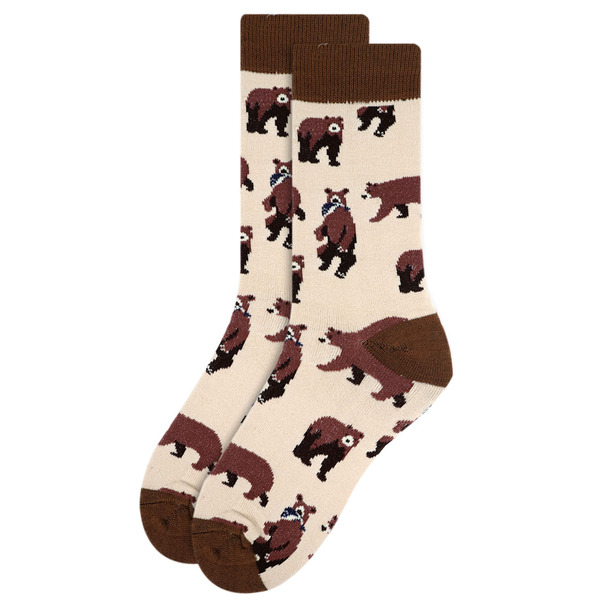 Women's Brown Bear Novelty Socks - LNVS19377-YW