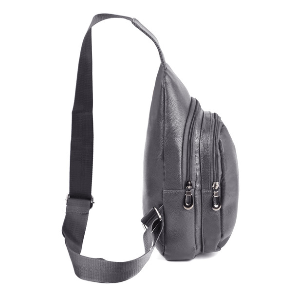Charcoal Crossbody  Leather Sling Bag Backpack with Adjustable Strap - FBG1824-CHAR