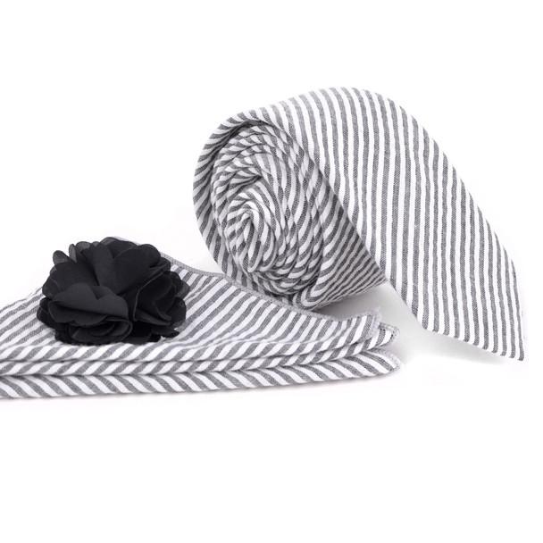 Men's Striped Cotton Skinny Tie w/ Hanky and Flower Lapel Pin - CTHL1700