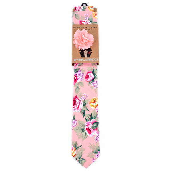 Men's Floral Cotton Skinny Tie w/ Hanky and Flower Lapel Pin - CTHL1710