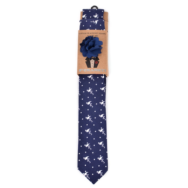 Men's Flamingo Print Cotton Skinny Tie w/ Hanky and Flower Lapel Pin - CTHL1702