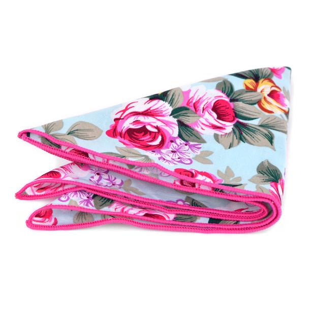 Men's Floral Cotton Bow Tie & Hanky Set - CTBH1741