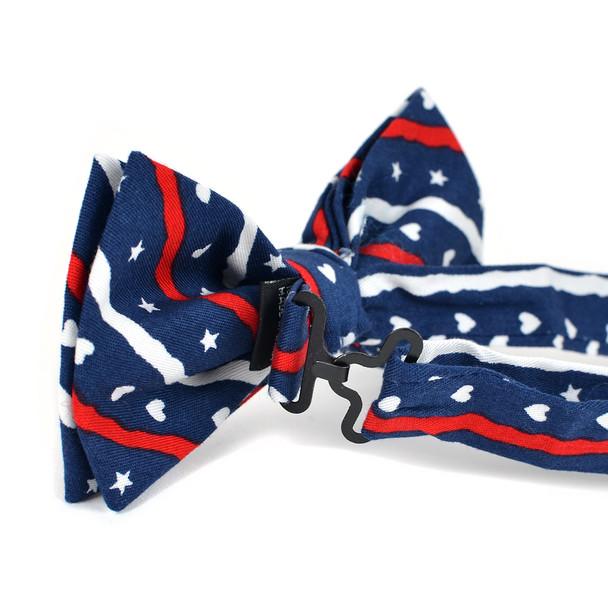 Men's Patriotic Hearts & Stars Cotton Bow Tie & Hanky Set - CTBH1735-NV