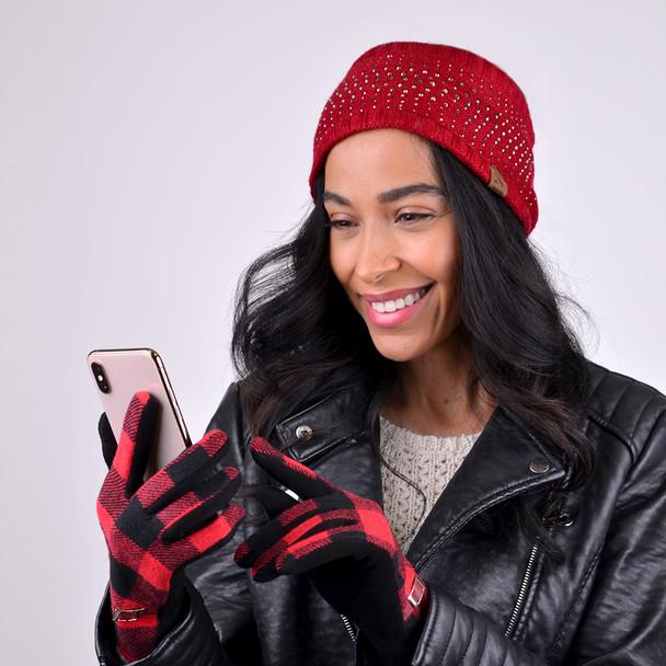 Women's Studded Fleece Lined Knit Winter Head Band - WHB5006
