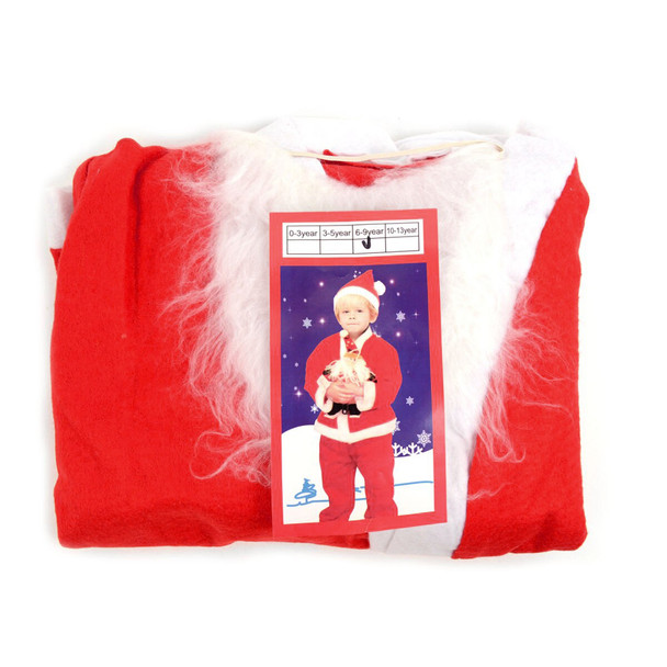 5 Pieces Santa Claus Kids Suit Set Costume 6-9 Yrs - XSHC5117