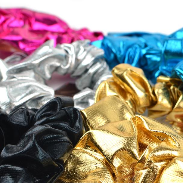 12pc Solid Shiny Metallic Scrunchie Hair Ties - 12SHS-SLD-2