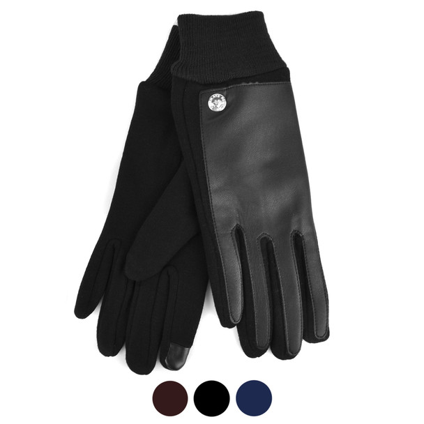 Women's PU Leather Two-Tone Touch Screen Winter Gloves - LWG37