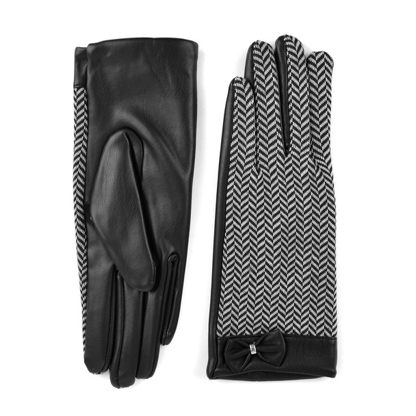 Women's Chevron and PU Leather Gloves - LWG40