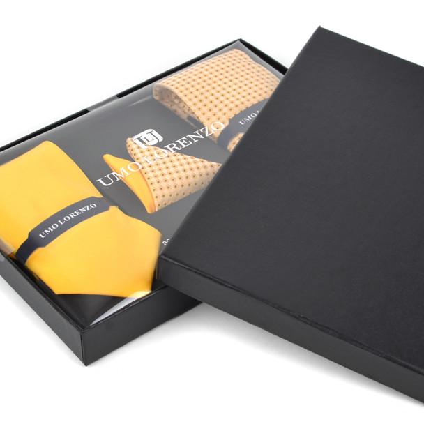 Geometric & Solid Tie with Matching Hanky Box Set - THX12-YW-3