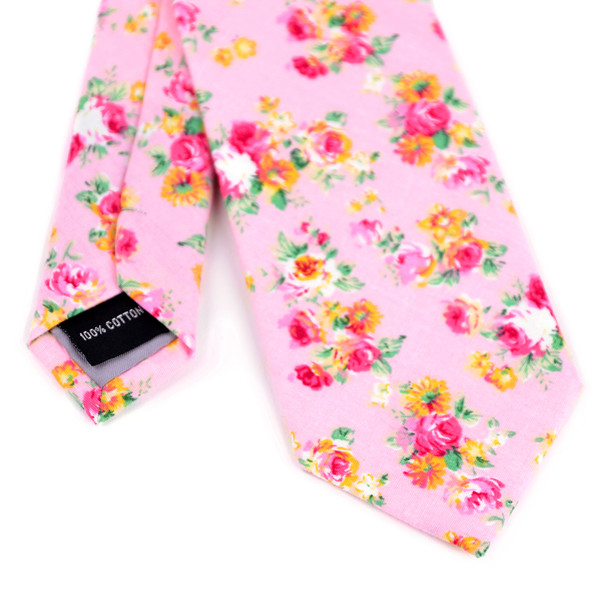 2.25' Cotton Slim Tie - NVC-FLORAL1