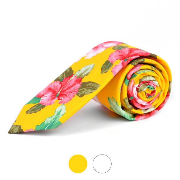 """2.25"""" Floral Cotton Slim Tie - NVC-FLORAL7"""