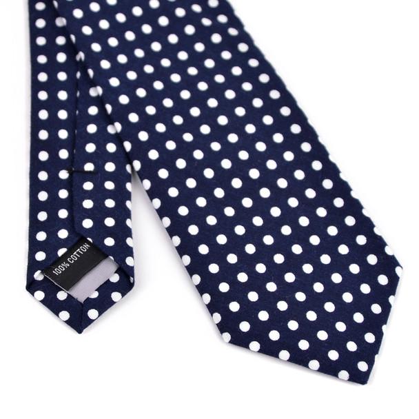"2.25"" Polka Dot Cotton Slim Tie - NVC-POLKA"