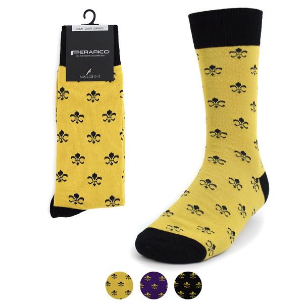Men's Cotton Fleur-de-lis Novelty Socks- FLS01