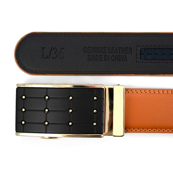 Men's Auto Lock Buckle Genuine Leather Waist Strap Dress Belt MGLBB4
