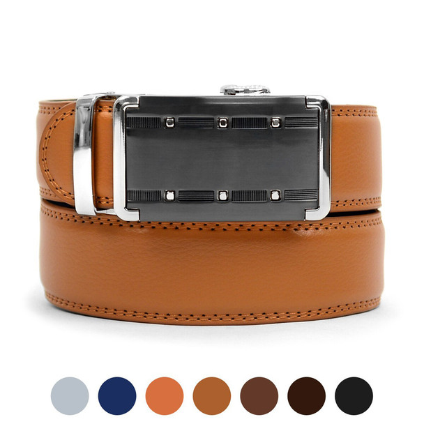 Men's Genuine Leather Sliding Buckle Ratchet Belt -MGLBB9