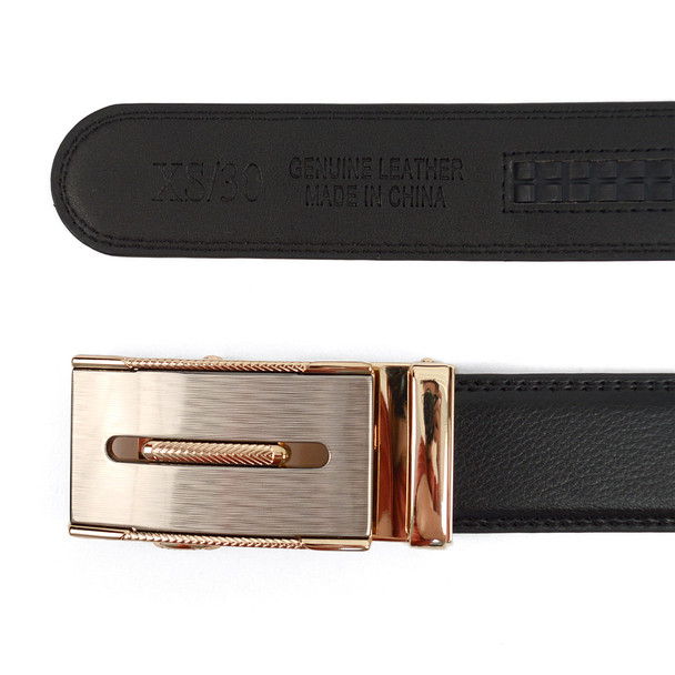 Men's Genuine Leather Sliding Buckle Ratchet Belt MGLBB13