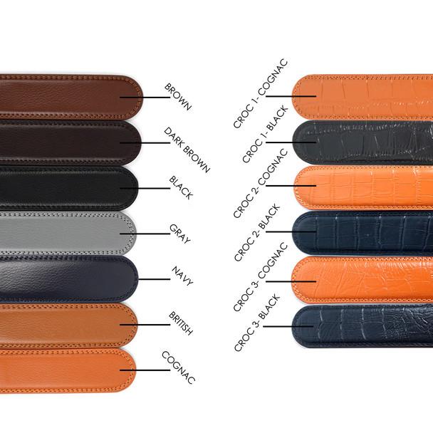 Men's Genuine Leather Sliding Buckle Ratchet Belt - MGLBB14