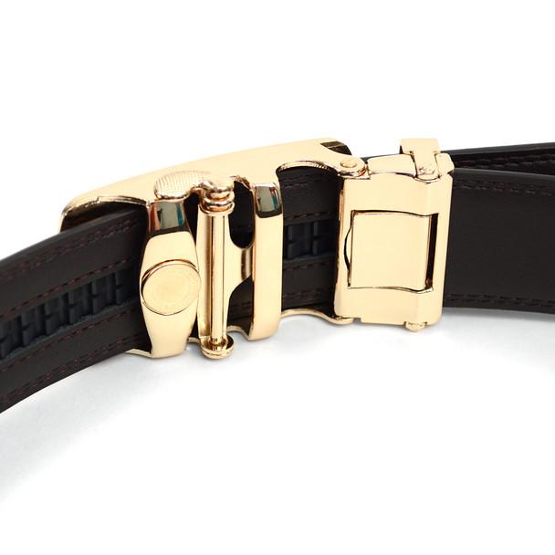 Men's Genuine Leather Sliding Buckle Ratchet Belt MGLBB16