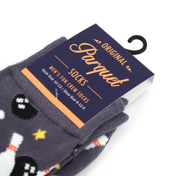 12pairs Men's Gray Bowling Novelty Socks NVS1768