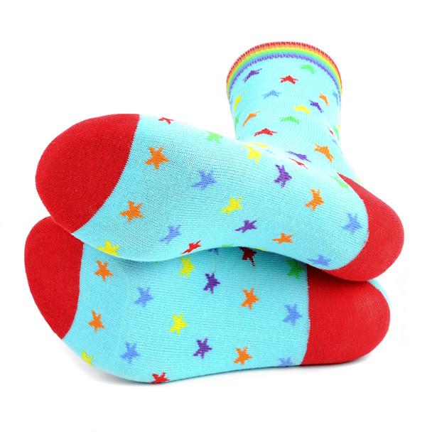 Women's Rainbow Stars Novelty Socks - LNVS19431-BL