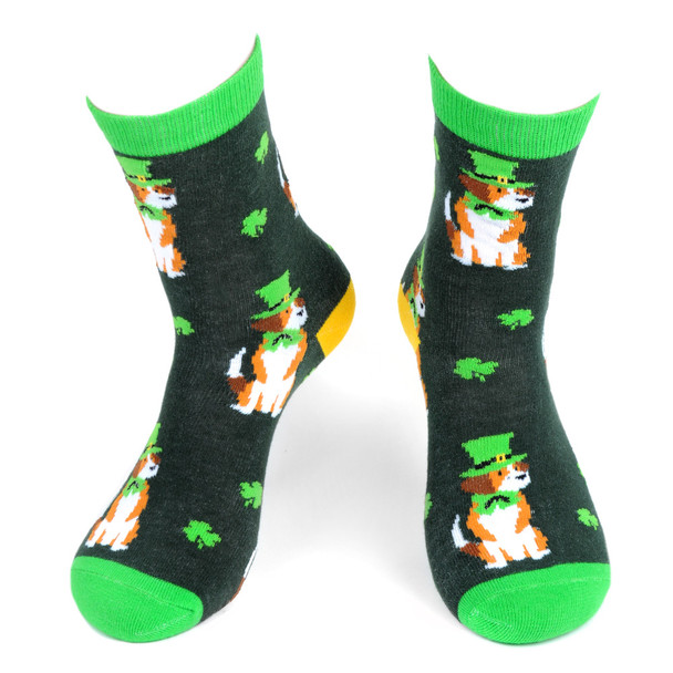 Women's St.Patrick's Day Dog Novelty Socks - LNVS19426-GRN