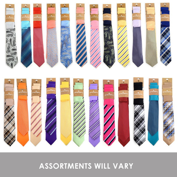 24 Pack Assorted Microfiber Poly Woven Tie & Hanky Set (2pc) - TH2X/ASST