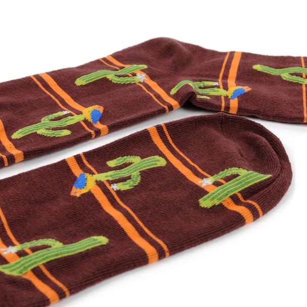Men's Cactus Novelty Socks - NVS19583-BRN