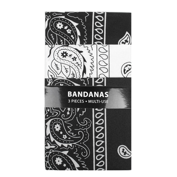 3pk Bandannas - 2 Black & 1 White - 3BNA-BWB