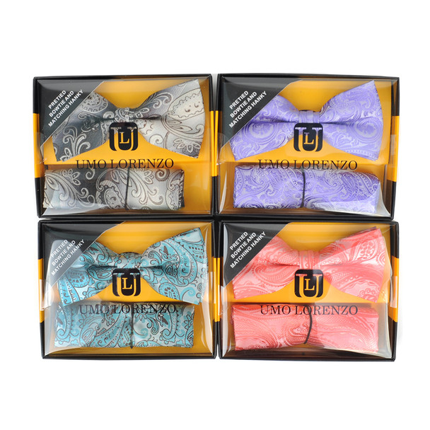 12pc Pack Assorted Paisley Pattern Men's Bow Tie & Matching Hanky BTHB3812PSY