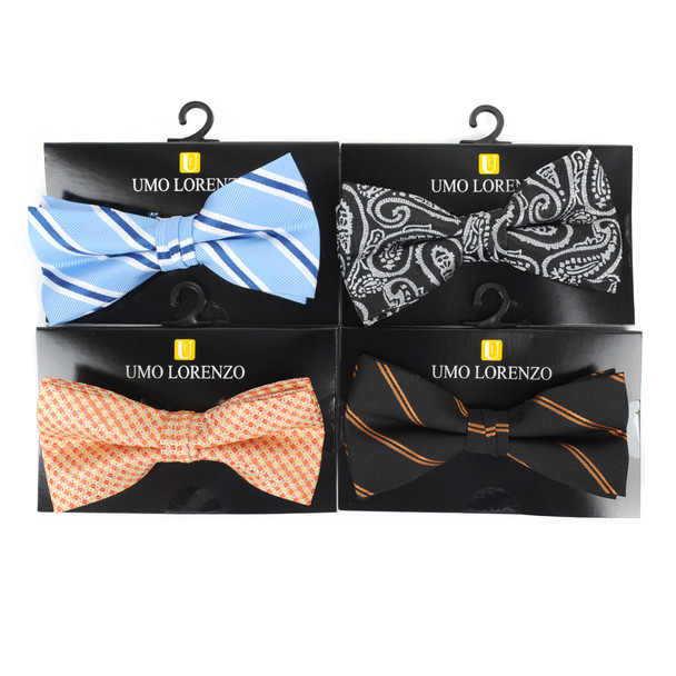 12pc Assorted Men's Pattern Banded Bow Ties - FBB12-ASST-B