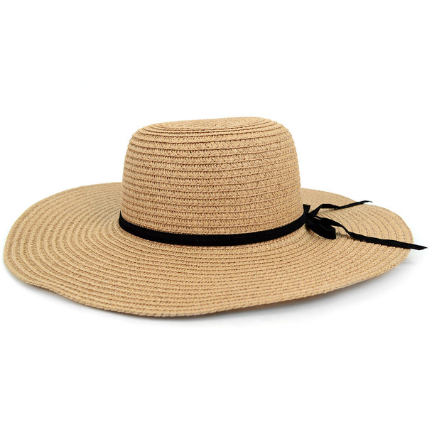 Women's  Wide Brim Floppy Sun Hat with Ribbon Bowknot - LFH180501
