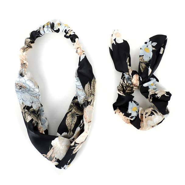 6pc Elastic Head Band with Matching Scrunchy Bow Set - 6EHST-5