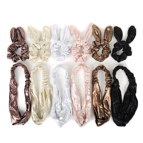 6pc Elastic Head Band with Matching Scrunchy Bow Set - 6EHST-6