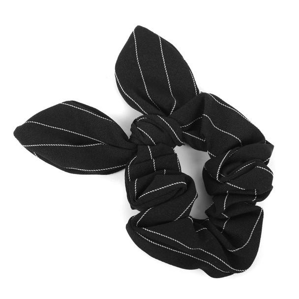 4pc Black Patterned Scrunchy Bow Set