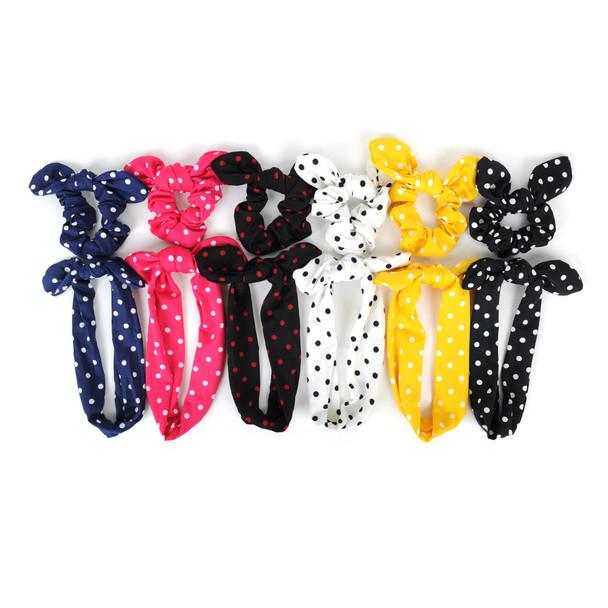 6pc Polka Dot Elastic Head Band with Matching Scrunchy Bow Set