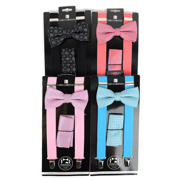 12pc Assorted Men's Clip-on Suspenders, Patterned Bow Tie and Hanky Sets FYBTHSU/12ASST