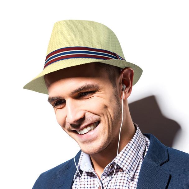Spring/Summer Classic Woven Fashion Fedora with Burgundy & Blue Band FSS17121