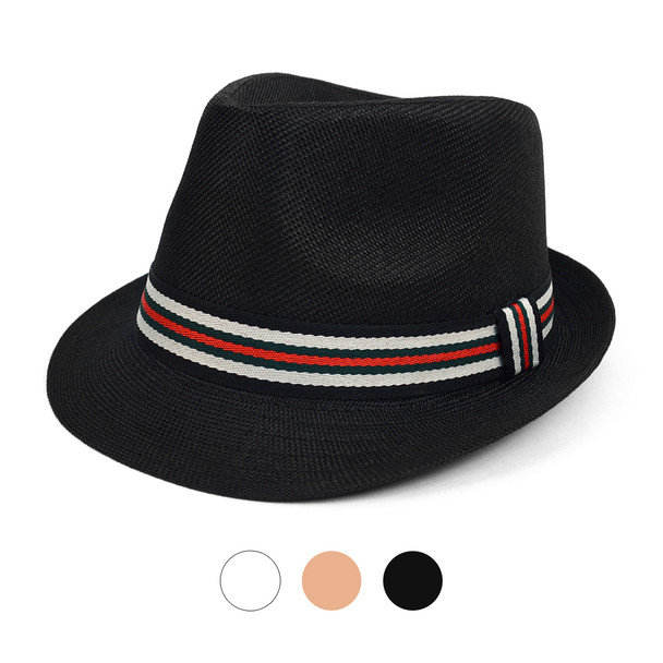 Spring/Summer Classic Woven Fashion Fedora Hat with Multi Color Band FSS17127
