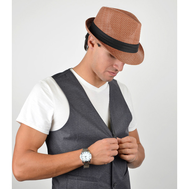 Spring/Summer Woven Fashion Fedora with Black Band & Button- FSS17106