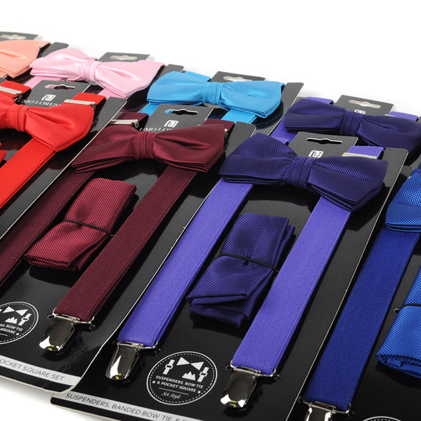 12pc Assorted Men's Clip-on Suspenders, Solid Bow Tie and Hanky Sets SDBTHSU/12ASST